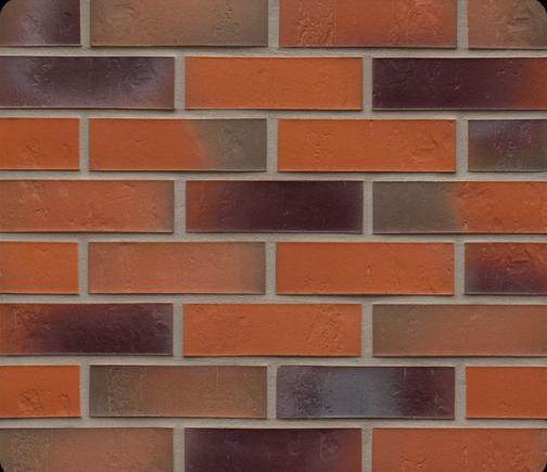 Клинкерная фасадная плитка Feldhaus Klinker R715 Accudo terreno bluastro рельефная NF14